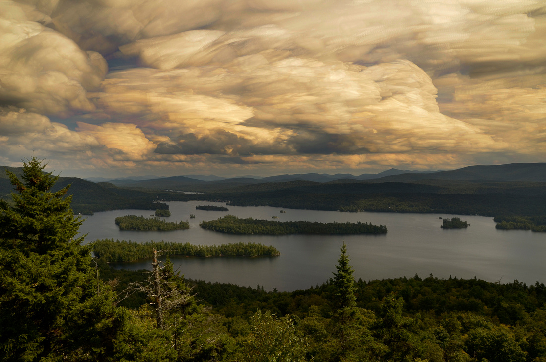 Blue Mountain Lake from Castle Rock with 10 Minute Cloud Exposure